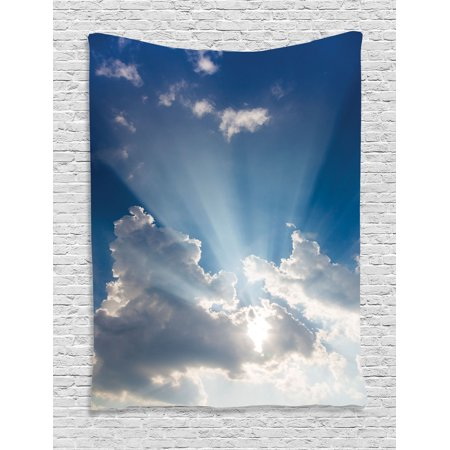 Apartment Decor Wall Hanging Tapestry, Big Sunbeam Coming Out Of Clouds Sunny Day Overcast Sky Scenic Picture, Bedroom Living Room Dorm Accessories, Gift Ideas, By