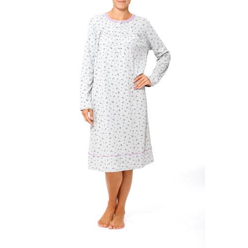 Simply Basic Women's Long Sleeve Sleep Gown