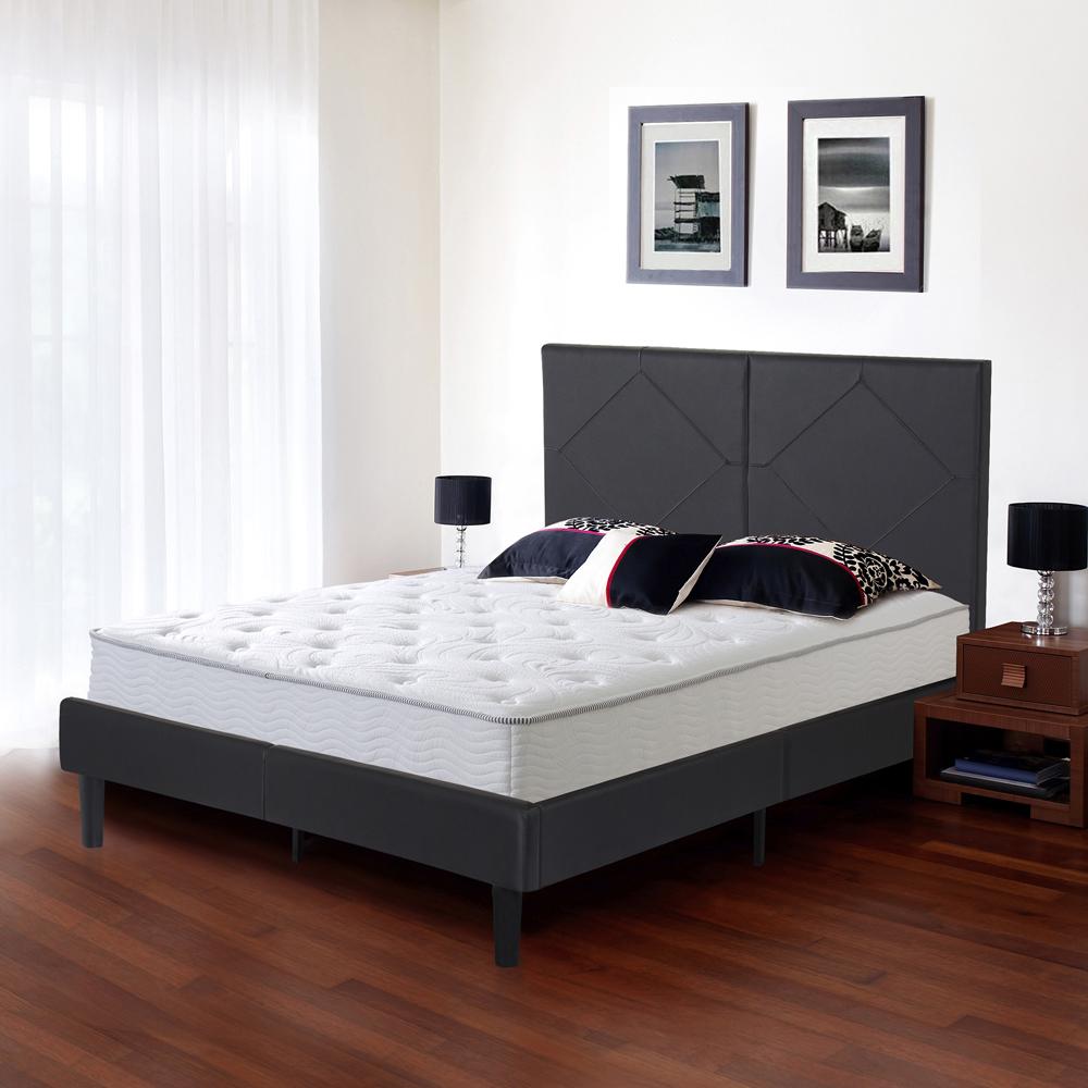 "GranRest 14"" Dura Metal Faux Leather Platform Bed Frame, Full by Grantec Co.; Ltd"