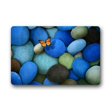 Cobblestone Mat (WinHome Blue Cobblestone with Butterfly Pattern Doormat Floor Mats Rugs Outdoors/Indoor Doormat Size 23.6x15.7 inches)