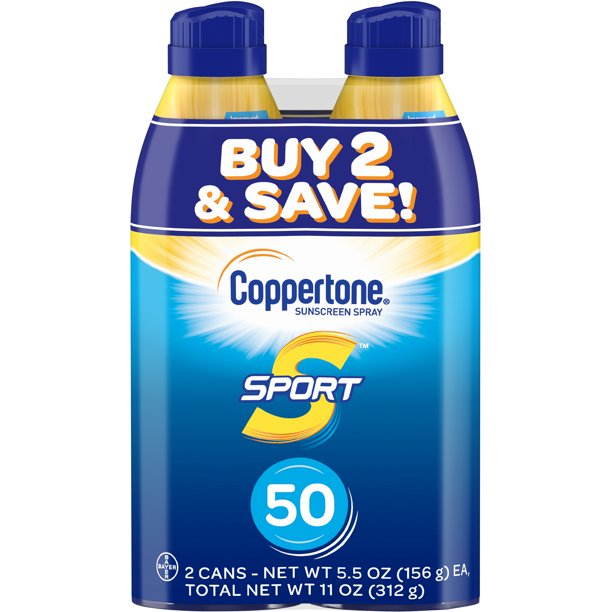 Coppertone Sport Sunscreen Spray SPF 50, Twin Pack (5.5 oz each)