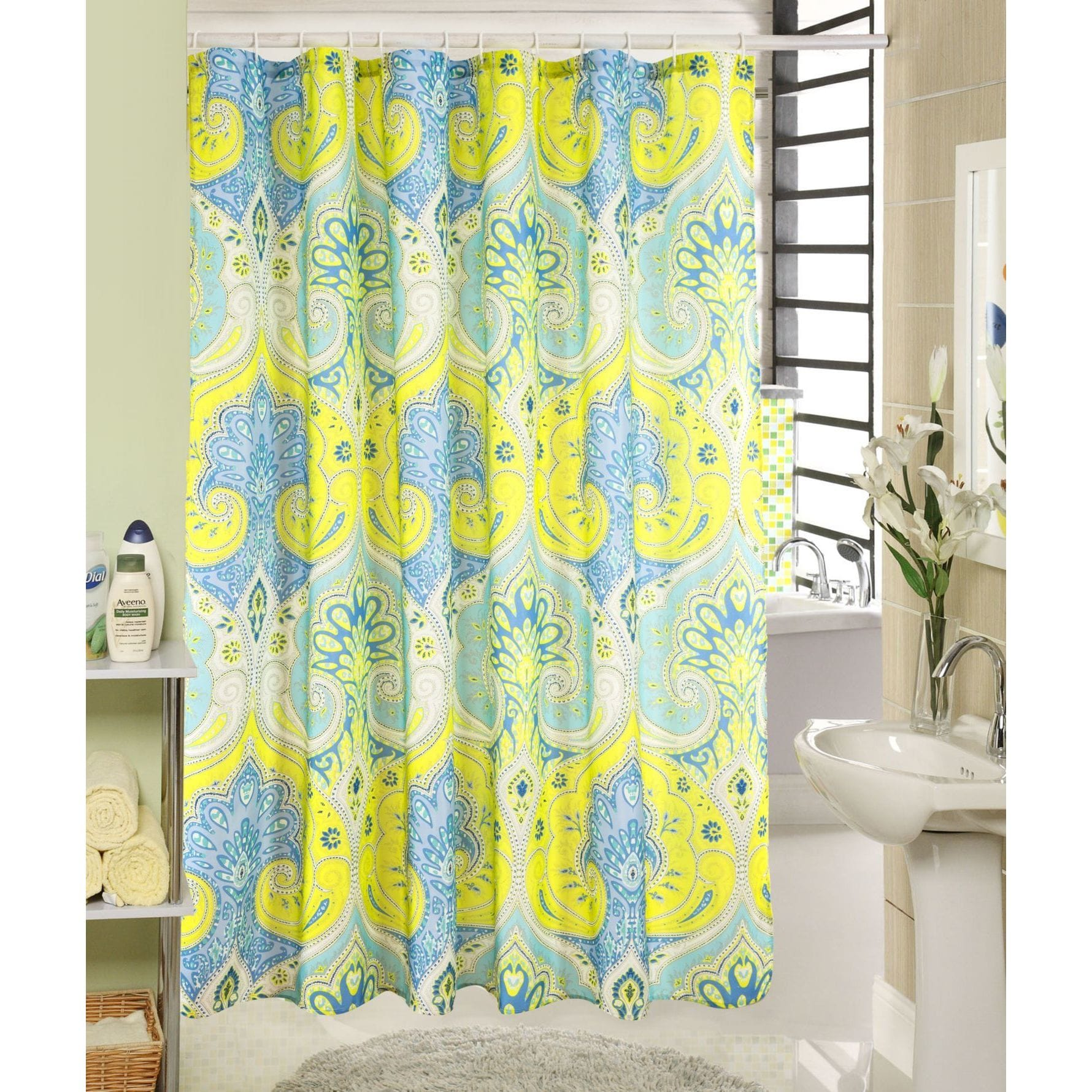 RT Designer Collection RT Designers Collection Wave Printed Canvas Shower  Curtain And Hook Set
