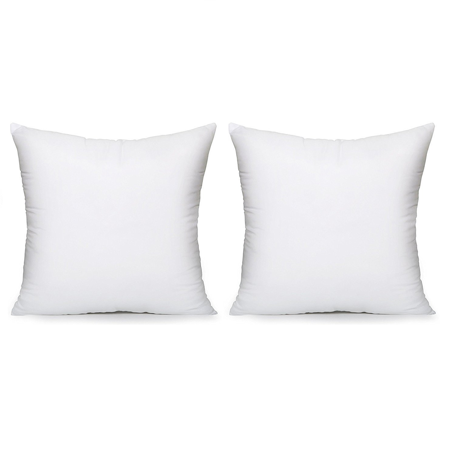 "Image of Acanva Hypoallergenic Pillow Insert Form Cushion Euro Sham, Square, 16"" L x 16"" W, Set of 2"