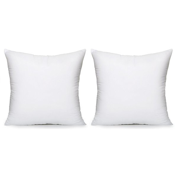 Acanva Down Alternative Throw Pillow Inserts Hypoallergenic Square Soft Form Stuffer Decorative Cushion Sham Filler 22 X22 White Set Of 2 Walmart Com Walmart Com