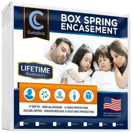 "Premium Box Spring Encasement Zippered Cover by CushyBeds - Bed Bug, Dust Mites & Allergy Proof - 100% Waterproof, Hypoallergenic, 6-Sided Protection - (Fitted 7-9"" Depth)"