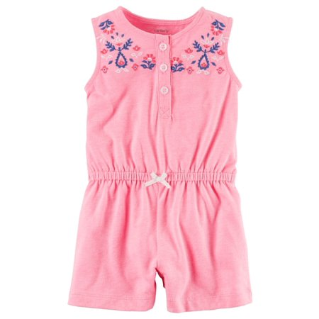 Carters Baby Clothing Outfit Girls Neon Floral Embroidered Romper Pink