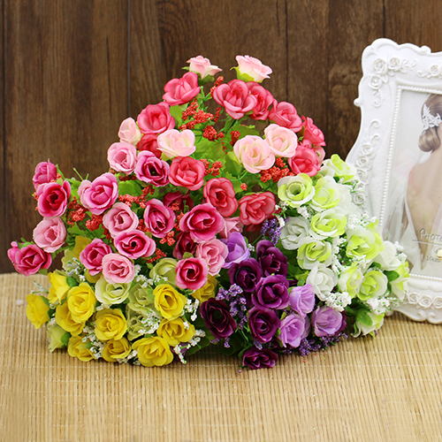 Heepo 1 Bouquet 21 Head Artificial Fake Rose Wedding Party Home Decoration Flower