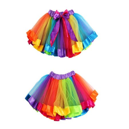 Girls Kids Petticoat Rainbow Pettiskirt Bowknot Skirt Tutu Dress Dancewear - Tutu Petticoat Skirt