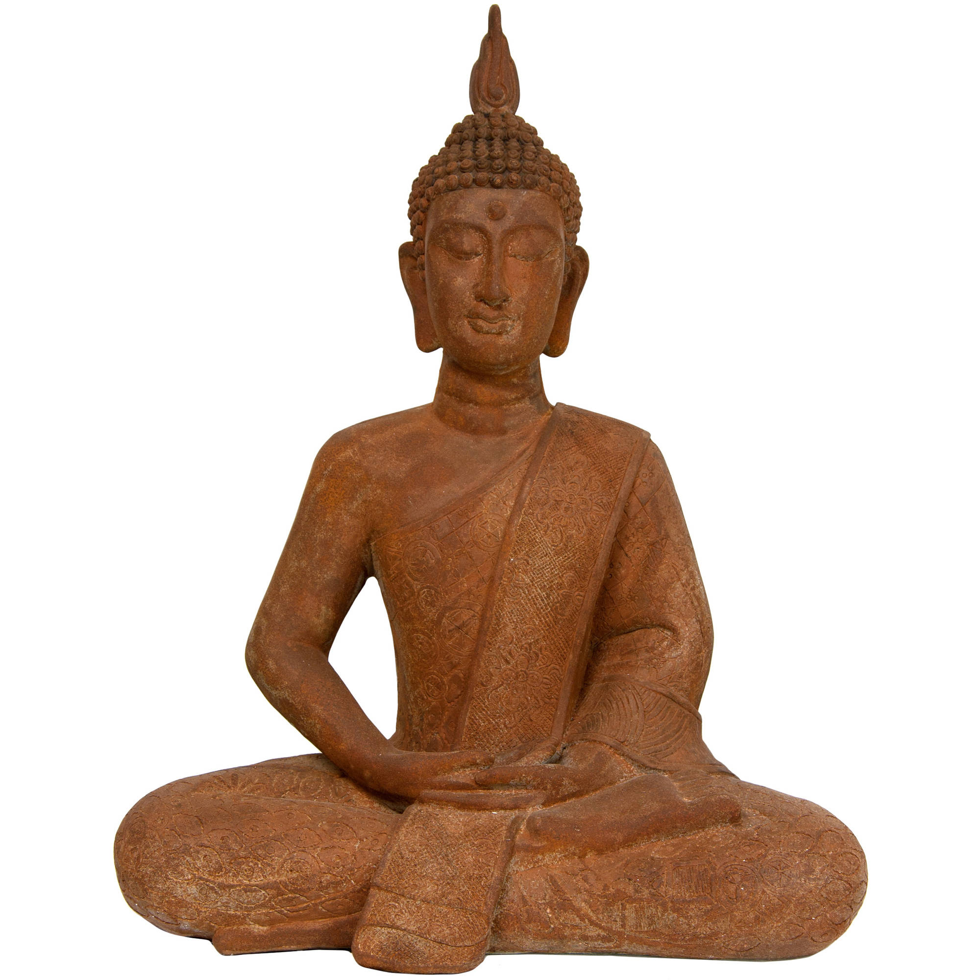 "24"" Thai Sitting Zenjo-in Rust Patina Buddha Statue"