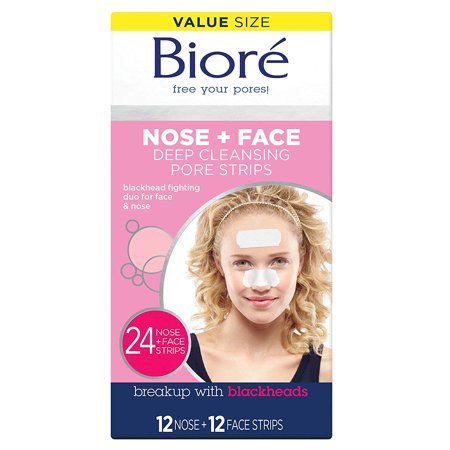 Biore Deep Cleansing Pore Strips Combo Pack, 24 Count Deep Cleansing Pore Strips Nose