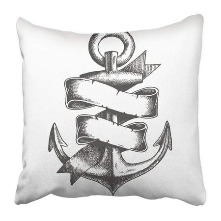 Artjia Navy Nautical Hand Drawn Anchor With Ribbon Tattoo Vintage