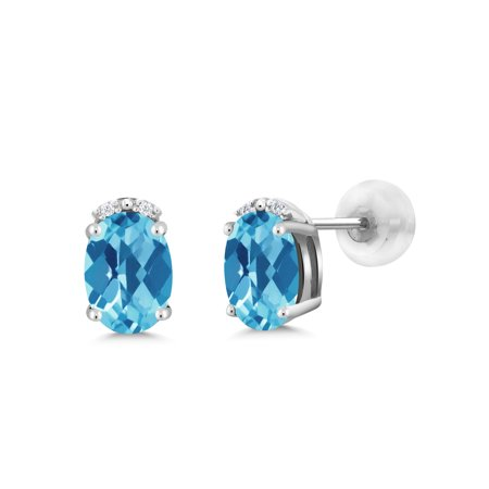 1 93 Ct Oval Checkerboard Swiss Blue Topaz White Diamond 10k Gold Earrings