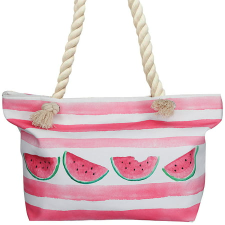Watermelon Beach Break Tote Bag - Lined Polyester w/ Rope Handle 22