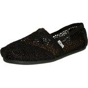 Toms Women's Alpargata Moroccan Crochet Black Ankle-High Cotton Slip-On Shoes - 6.5M