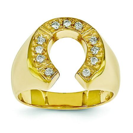 - 14K Gold Diamond Horseshoe Mens Ring Jewelry Sz 10