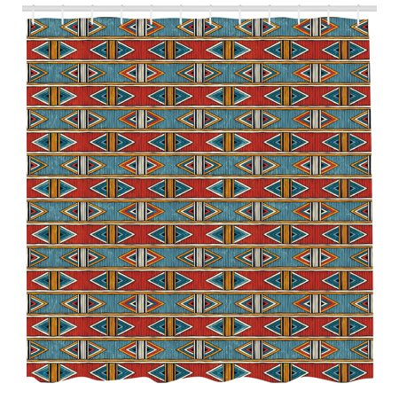 Kente Pattern Shower Curtain Tribal Traditional Triangles And Stripes Indigenous Native Cultural Heritage Fabric