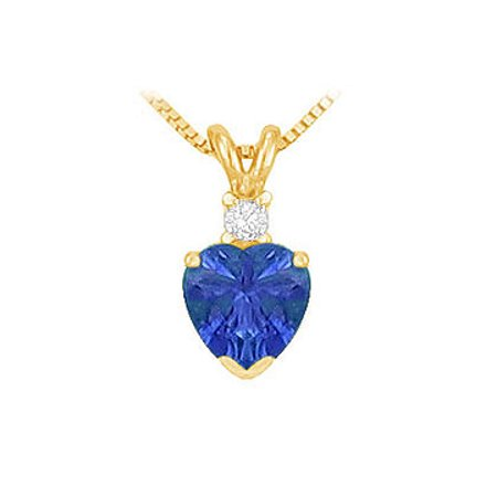 September Birthstone Sapphire Heart Pendant with Cubic Zirconia in Gold Vermeil over 925 Silver