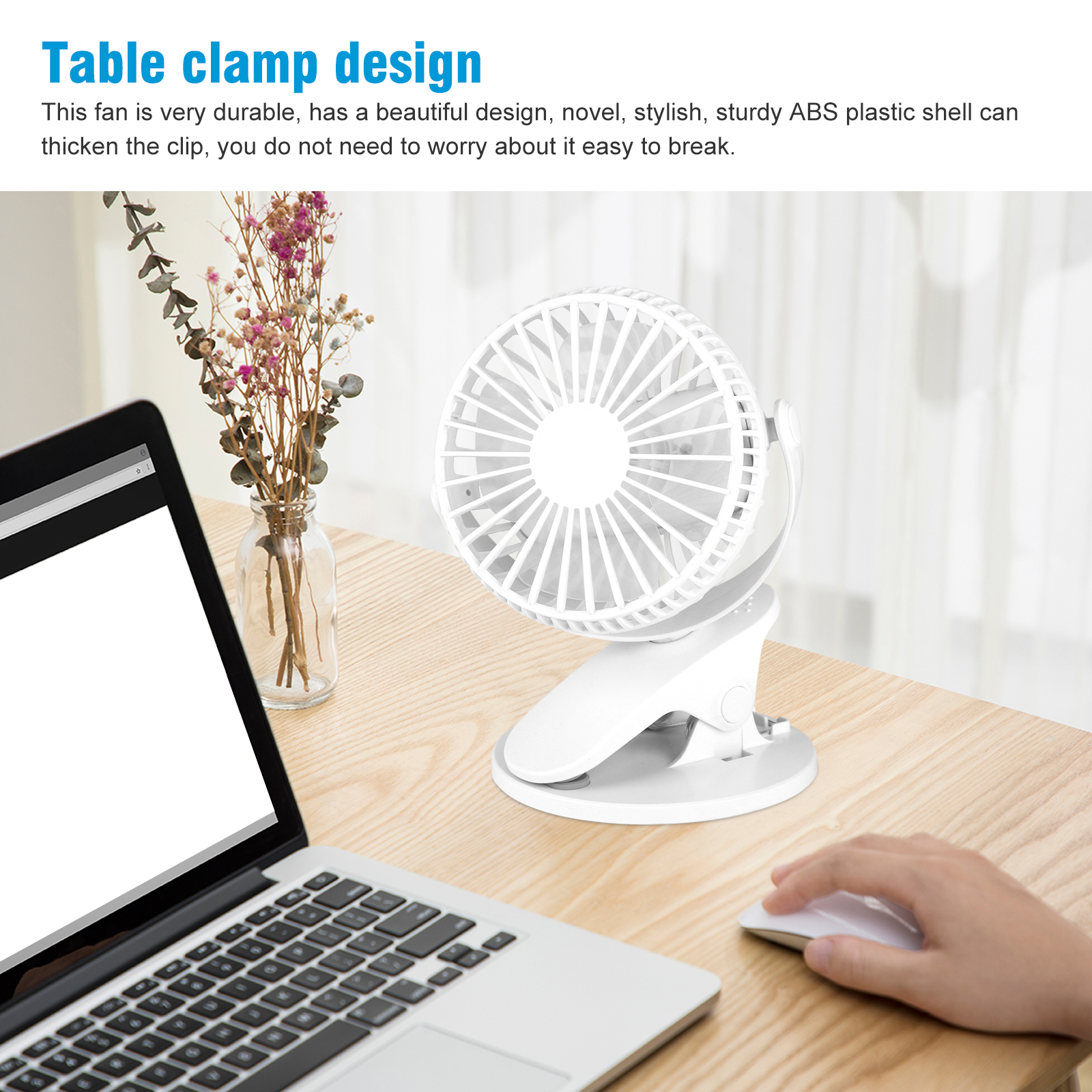 Laptop Table 1200mAh,Black WW/&C Mini Clip Fan 360/° Rotation 3 Setting Personal Portable Fan for Baby Stroller Car Bedroom etc USB Clip Desk Fan
