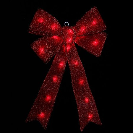 24 x 16 lighted sparkling red tinsel bow christmas decoration