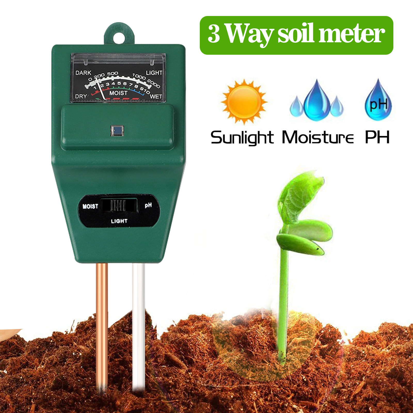 Soil PH Meter, TSV 3-in-1 Moisture Sensor Meter / Sunlight / PH Soil Tester for Home and Garden, Plants, Farm, Indoor/Outdoor Use - Walmart.com - Walmart.com