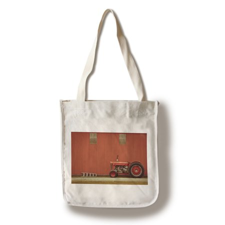 Red Tractor in Front of Red Barn - Lantern Press Photography (100% Cotton Tote Bag - Reusable)