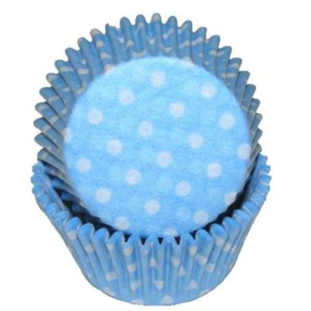 Light Blue & White Polka Dot - Baking Cupcake Liners - 50 Count - Polka Dots Cupcakes