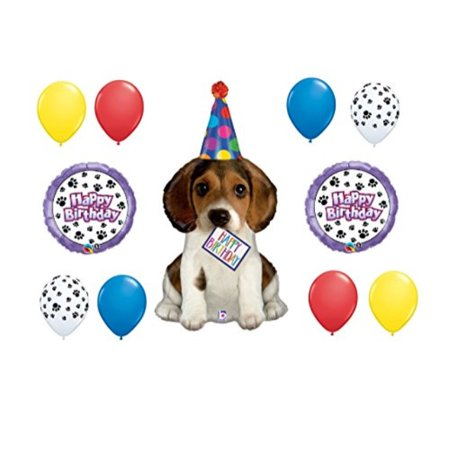11pc party BALLOON set PUPPY happy BIRTHDAY dog FAVORS paw print GIFT decorations