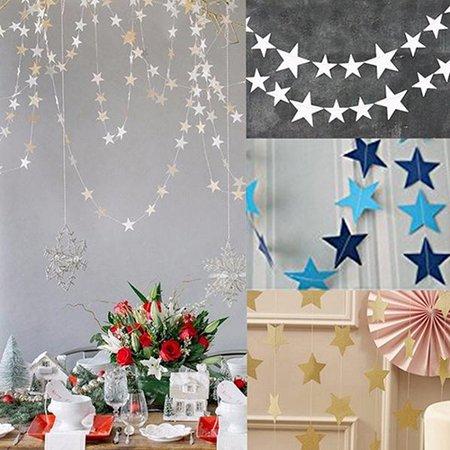 Moderna 4m Long Star String Paper Garland for Wedding Birthday Party Baby Shower Decor - Wedding Shower Decor