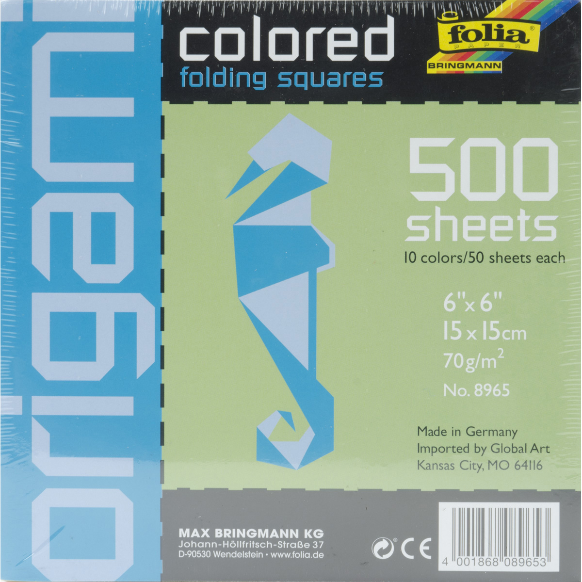 "Global Art Folia Origami Paper, 6"" x 6"", 500/pkg, Assorted"