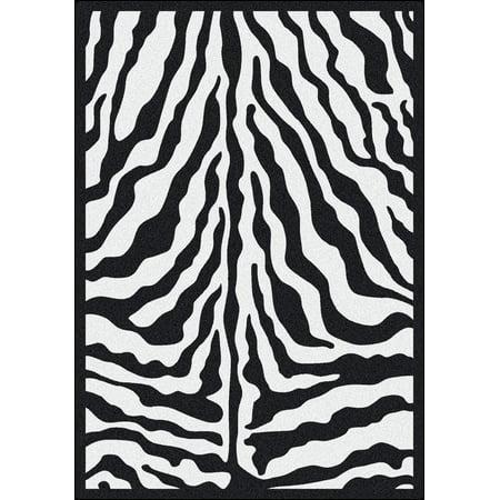 Milliken Black & White Area Rugs - Contemporary Black Ink Zebra Skin Exotic Rug