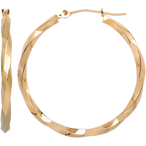 Simply Gold 10kt Yellow Gold Square Twisted Hoop Earrings