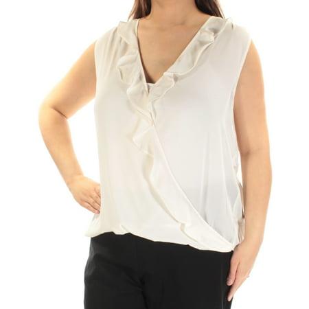Ruffle Neck Wrap - INC Womens Ivory Ruffled Sleeveless V Neck Faux Wrap Top  Size: XL