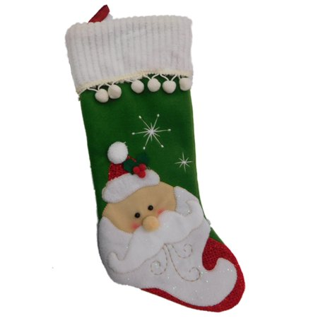 Green Santa Claus Christmas Stocking Holiday Decoration With Pom Poms Glitter & Sparkles - Green Santa Claus