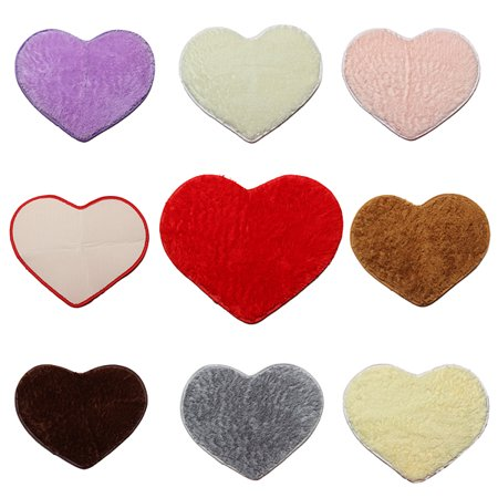 Multi-colors Super Soft Lovely Area Rugs, 20''x16'' Fluffy Shaggy Anti-Skid Doormats Carpet Floor Rugs Heart Shape Decor Mat for Bathroom, Bedroom, Kitchen, Living Room ()
