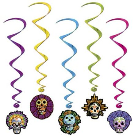 Club Pack of 30 Multi-Colored Day Of The Dead Whirl Halloween Hanging Decorations 40