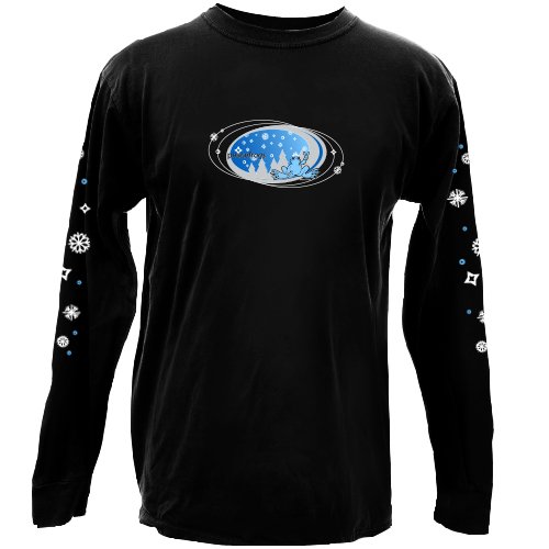Peace Frogs Adult  Black Snowflake Oval Long Sleeve T-Shirt