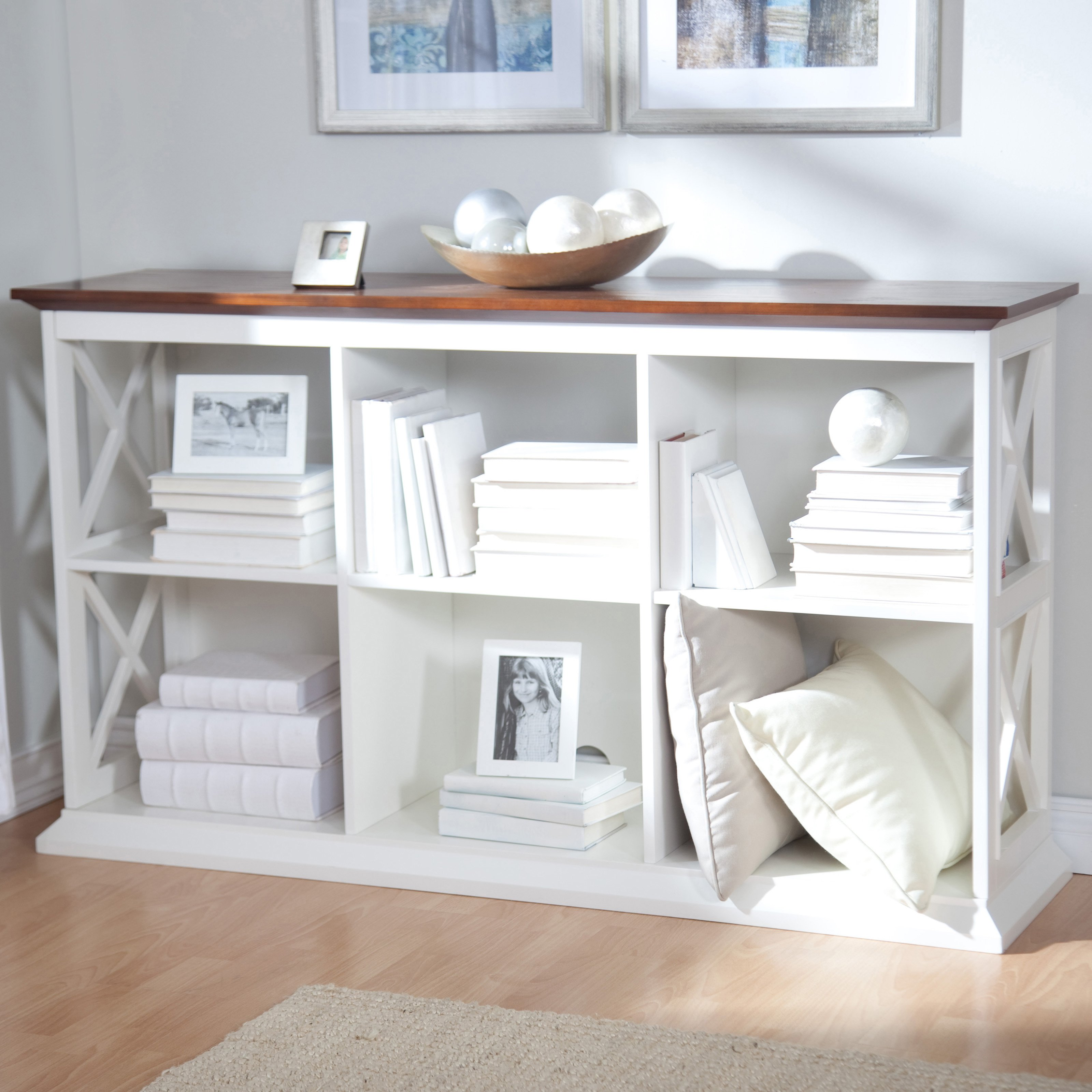 Belham Living Hampton Console Table 2 Shelf Bookcase - White/Oak