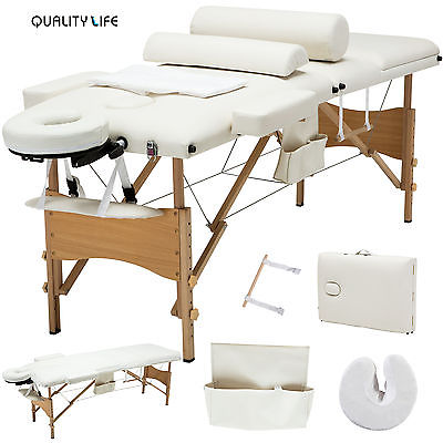 Uenjoy 3 Fold Portable Facial SPA Bed Massage Table With Carrying Case  Sheet+2 Bolster