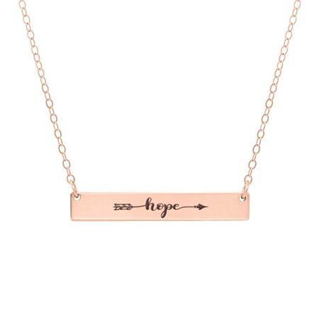 Anavia Hope Arrow Inspirational Stainless Steel Rose Gold Bar Necklace Horizontal Pendant Jewelry With Gift Box