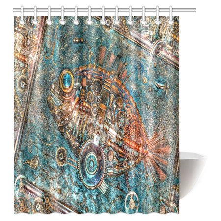 POP Apartment Decor Steampunk Bathroom Rustic Shower Curtain, Fragment of the Panel Fish made in style Steampunk Shower Curtain Set 60x72 inch - image 3 of 3