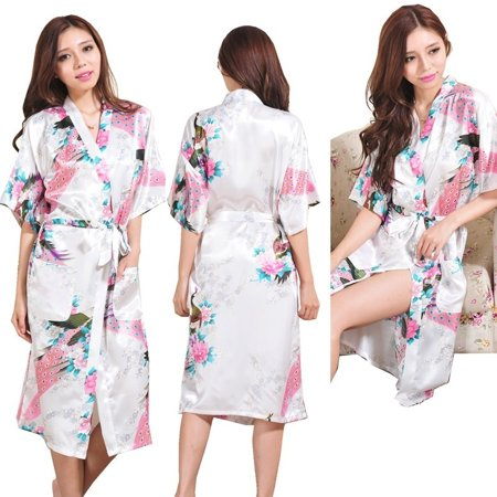 Pink Sateen Cotton Robe - Women Silk Satin Long Wedding Bride Bridesmaid Robe Peacock Bathrobe Floral Kimono Robe