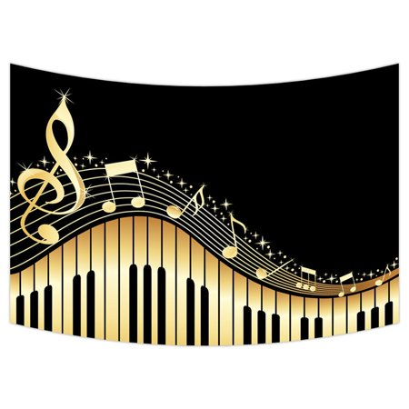 GCKG Musical Notes With Piano Wall Art Tapestries Home Decor Wall Hanging Tapestry Size 60