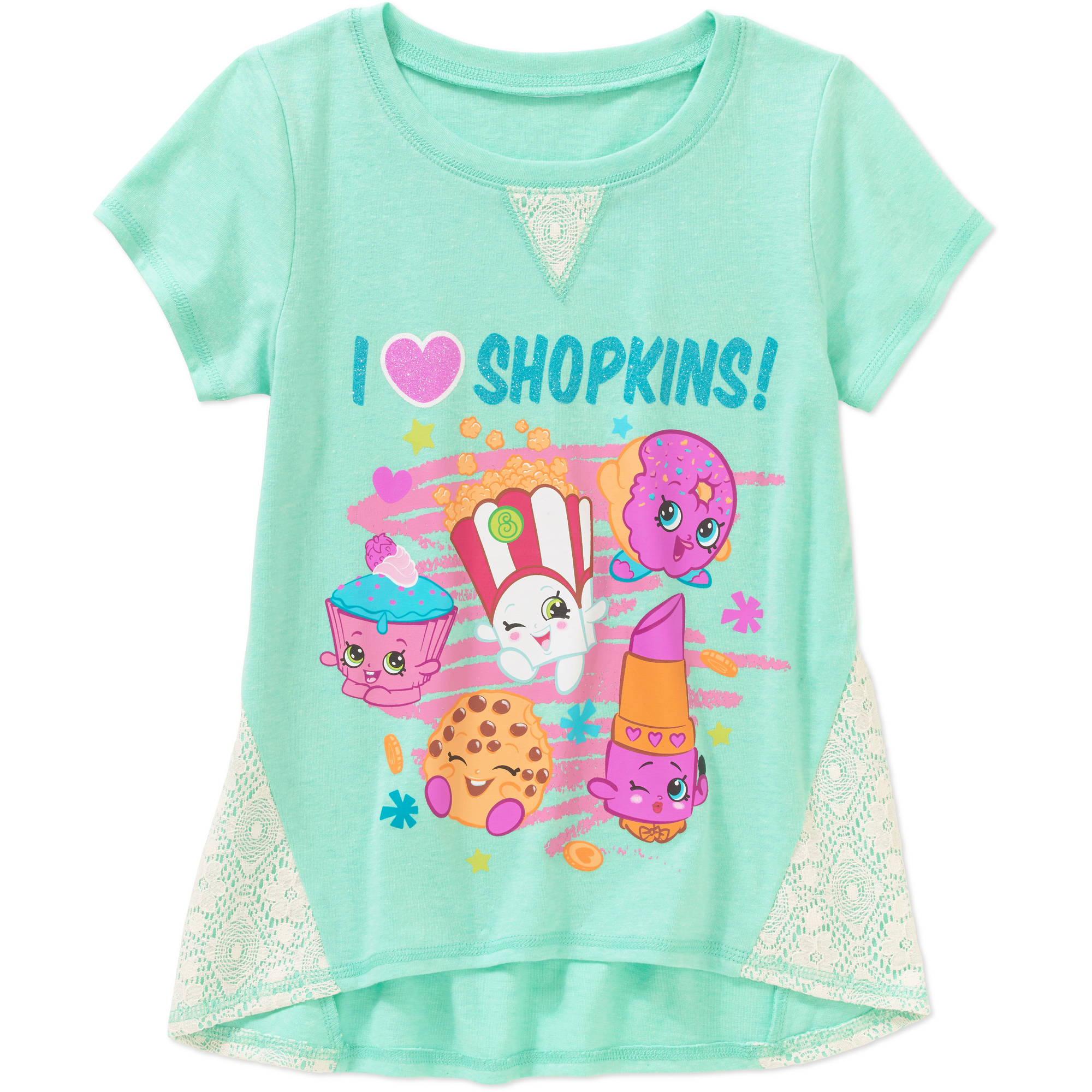 Shopkins Girls' I Heart Shopkins Crochet Panel Graphic Top