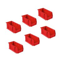 9858-7-01 Weather Guard Red Zone Plastic Small Red Bin Box Set of 6