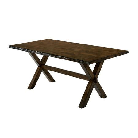 Furniture of America Terra Rough Edge X-Shaped Trestle Base Dining