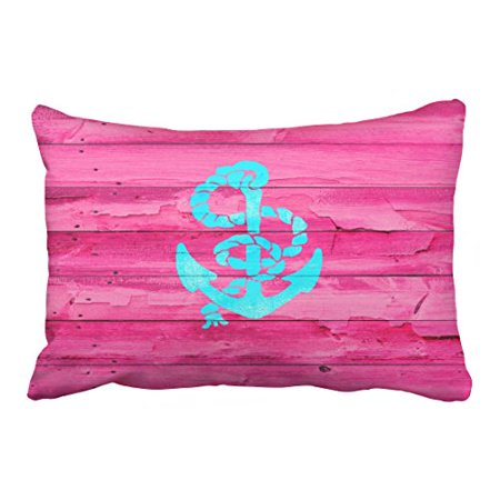 WinHome Rectangl Throw Pillow Covers Nautical Teal Blue Anchor Girly Pink Fuchsia Wood Pillowcases Polyester 20 x 30 Inch With Hidden Zipper Home Sofa Cushion Decorative Pillowcase