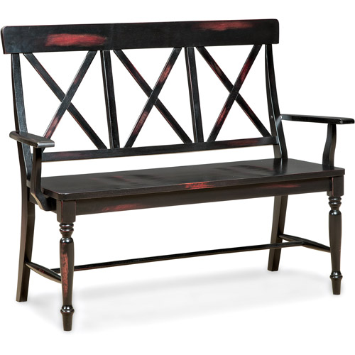 Imagio Home Roanoke X-Back Dining Bench, Rubbed Black