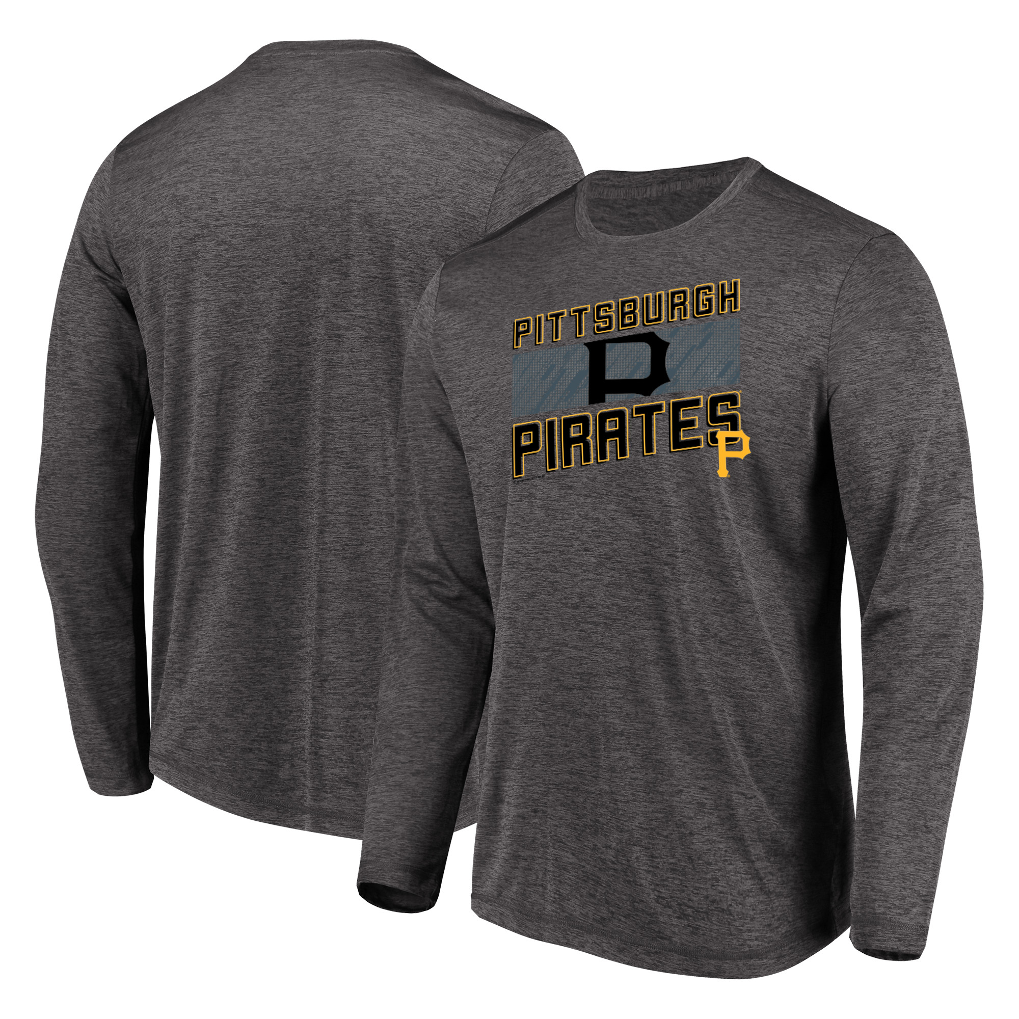 Men's Majestic Heathered Charcoal Pittsburgh Pirates Big & Tall Long Sleeve Team T-Shirt