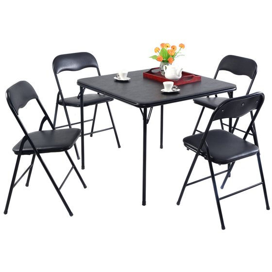 Black Kitchen Chairs For Sale: Costway 5PC Black Folding Table Chair Set Guest Games