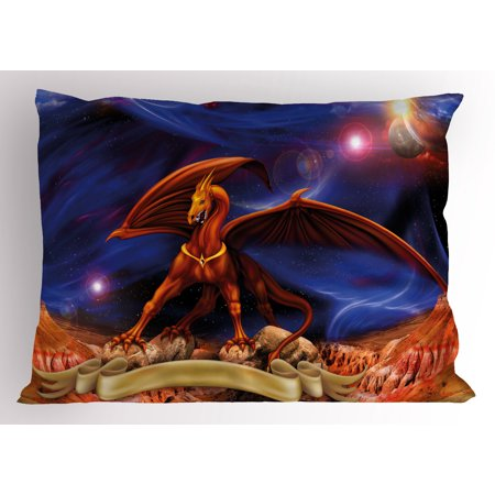 Dragon Pillow Sham Fantasy Scene With Dragon Knight Against Cosmos Galaxy Planetary Space Background  Decorative Standard Queen Size Printed Pillowcase  30 X 20 Inches  Blue Cinnamon  By Ambesonne